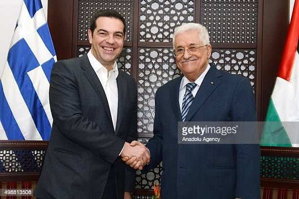 Prime Minister of Greece Alexis Tsipras meets with Palestinian President Mahmoud Abbas in Ramallah West Bank on November 26 2015