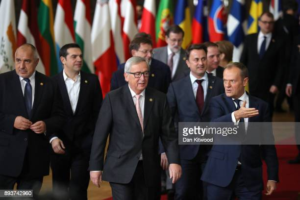 Prime Minister of Greece Alexis Tsipras President of the European Commission JeanClaude Juncker and President of the European Council Donald Tusk...