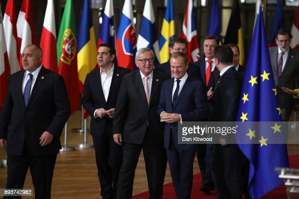 Prime Minister of Greece Alexis Tsipras President of the European Commission and President of the European Council Donald Tusk arrive for the...