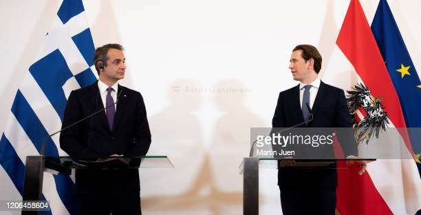 Prime Minister of Greece Kyriakos Mitsotakis and Federal Chancellor Sebastian Kurz at a press concerence after their work meeting at the Federal...