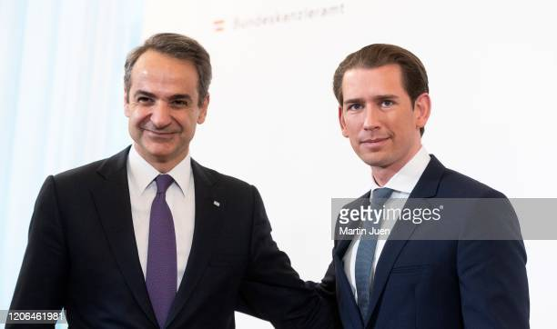 Prime Minister of Greece Kyriakos Mitsotakis with Federal Chancellor Sebastian Kurz at a press conference after a work meeting at Federal Chancellery...