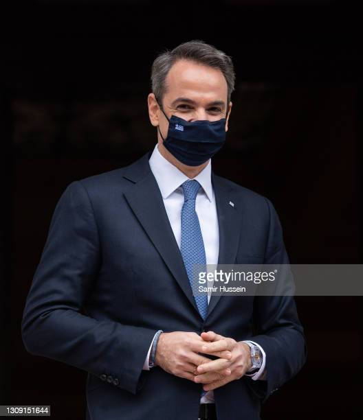 Prime Minister of Greece, Mr. Kyriakos Mitsotakis during a visit the Prime Minister's Office on March 25, 2021 in Athens, Greece. The visit is to...