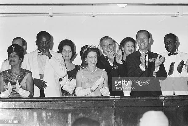 Prime Minister of Guyana Forbes Burnham and his wife Viola with Queen Elizabeth II and Prince Philip in Georgetown British Guyana during a royal tour...