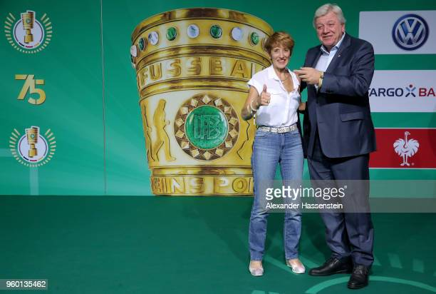 Prime Minister of Hesse Volker Bouffier and his wife Ursula pose for a photograph prior to the DFB Cup Final 2018 between Bayern Muenchen and...