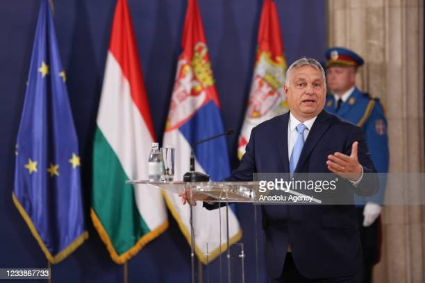 Prime Minister of Hungary Viktor Orban and Serbian President Aleksandar Vucic hold a joint press conference in Belgrade, Serbia on July 08, 2021.