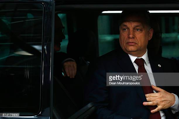 Prime Minister of Hungary Viktor Orban arrives for The European Council Meeting In Brussels held at the Justus Lipsius Building on March 7 2016 in...