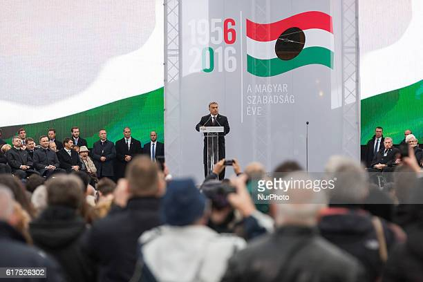Prime Minister of Hungary Viktor Orban during the 60th anniversary of Hungarian Revolution of 1956 at Kossuth Lajos square in Budapest Hungary on 23...