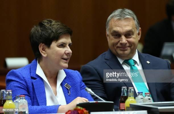 Prime Minister of Hungary Viktor Orban Prime Minister of Poland Beata Szydlo attend the European Council Meeting at the Council of the European Union...