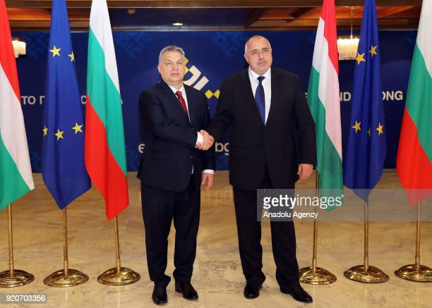 Prime Minister of Hungary Viktor Orban shakes hands with Prime Minister of Bulgaria Boyko Borisov as they pose for a photo during their meeting in...