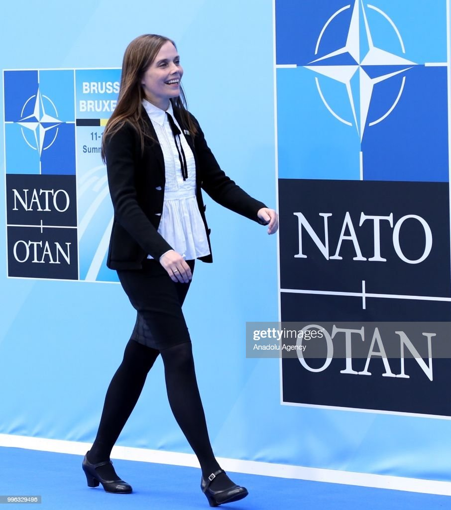Prime Minister of Iceland Katrin Jakobsdottir attends the 2018 NATO Summit at NATO headquarters on July 11, 2018 in Brussels, Belgium.