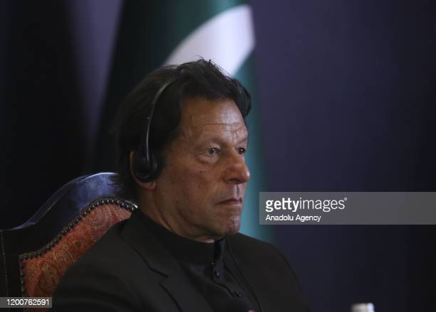 Prime Minister of Imran Khan listens the speech of President of Turkey Recep Tayyip Erdogan during the Pakistan - Turkey Business and Investment...