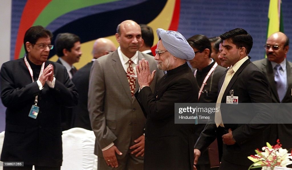 Prime Minister of India Dr. Manmohan Singh arrives for the plenary session of the ASEAN-India Commemorative Summit on December 20, 2012 in New Delhi, India. The free trade agreement in services and investment between India and 10 ASEAN countries was finalised after intense negotiations. It would create one of the world's biggest free trade areas with a market of around 1.8 billion people and a combined gross domestic product of $2.8 trillion.
