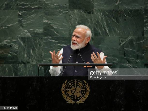 Prime Minister of India Narendra Modi addresses the United Nations General Assembly at UN headquarters on September 27, 2019 in New York City. World...