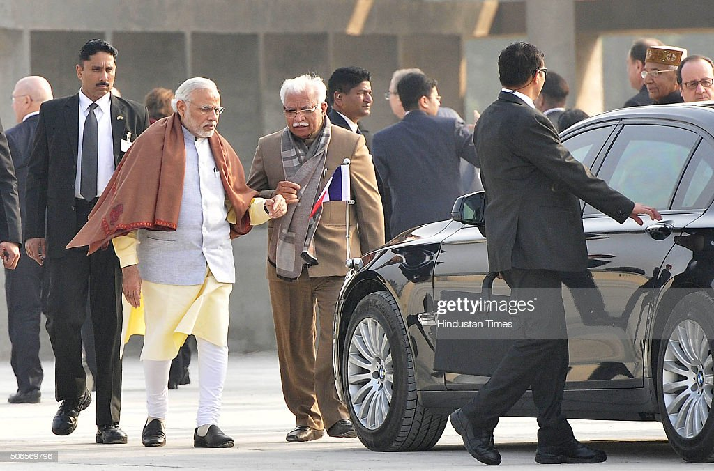 Prime Minister of India Narendra Modi along with Haryana CM Manohar Lal at Capitol Complex on January 24 2016 in Chandigarh India Hollande was joined.
