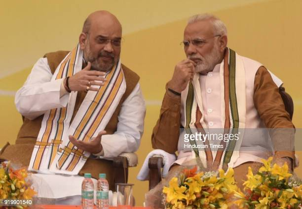 Prime Minister of India Narendra Modi and BJP National President Amit Shah during the inauguration of BJP headquarter building at 6A Deen Dayal...