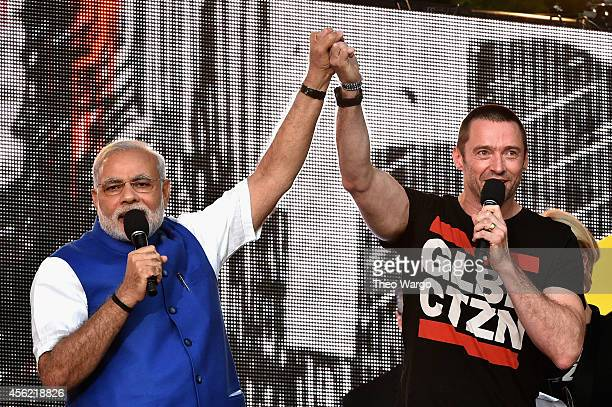 Prime Minister of India Narendra Modi and Hugh Jackman speak onstage at the 2014 Global Citizen Festival to end extreme poverty by 2030 in Central...
