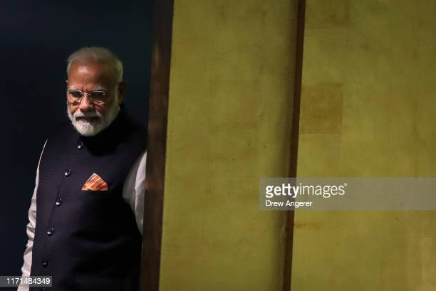 Prime Minister of India Narendra Modi arrives to address the United Nations General Assembly at UN headquarters on September 27 2019 in New York City...