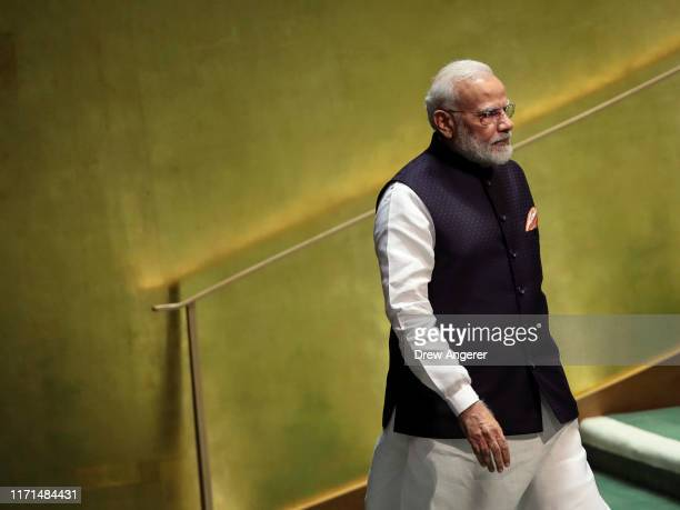 Prime Minister of India Narendra Modi arrives to address the United Nations General Assembly at UN headquarters on September 27, 2019 in New York...