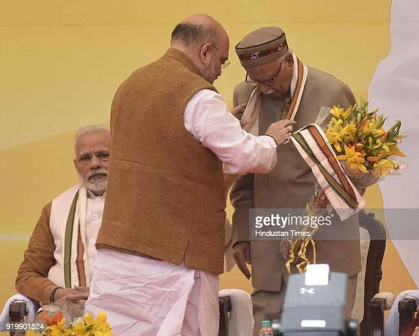 Prime Minister of India Narendra Modi BJP National President Amit Shah with Senior BJP Leader LK Advani during the inauguration of BJP headquarter...