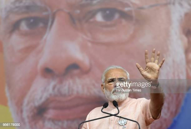 Prime Minister of India Narendra Modi during BJP rally ahead of Karnataka state Assembly election at National College Ground on May 8 2018 in...