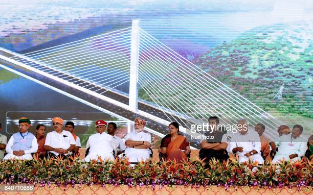 Prime Minister of India Narendra Modi during the inauguration and foundation stone laying of various highway projects in Udaipur Rajasthan India on...