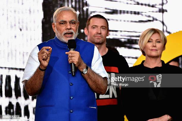 Prime Minister of India Narendra Modi, Hugh Jackman and Deborra-Lee Furness speak onstage at the 2014 Global Citizen Festival to end extreme poverty...