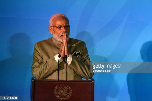 Prime Minister of India Narendra Modi speaks at the Climate Action Summit at the United Nations on September 23 2019 in New York City While the...