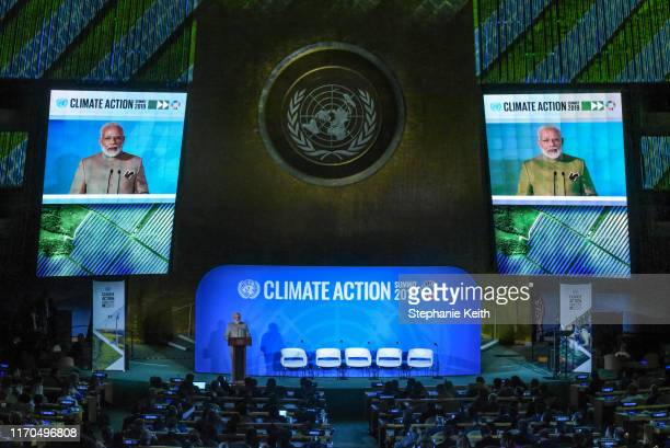 Prime Minister of India Narendra Modi speaks at the Climate Action Summit at the United Nations on September 23, 2019 in New York City. While the...