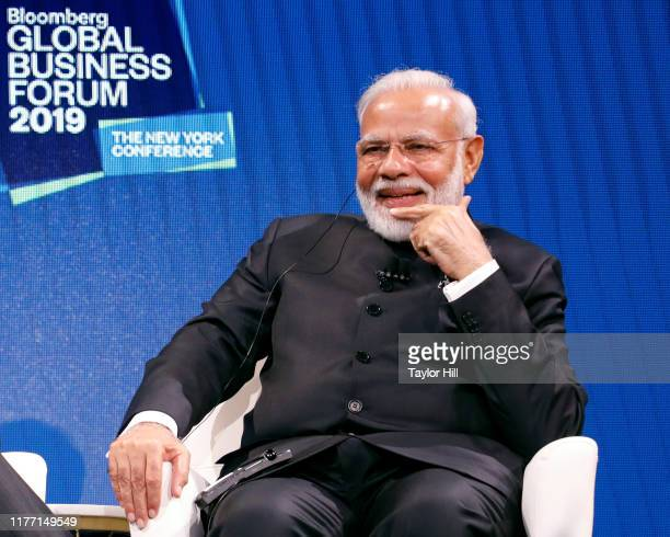 Prime Minister of India Narendra Modi speaks during the 2019 Bloomberg Global Business Forum at The Plaza Hotel on September 25, 2019 in New York...