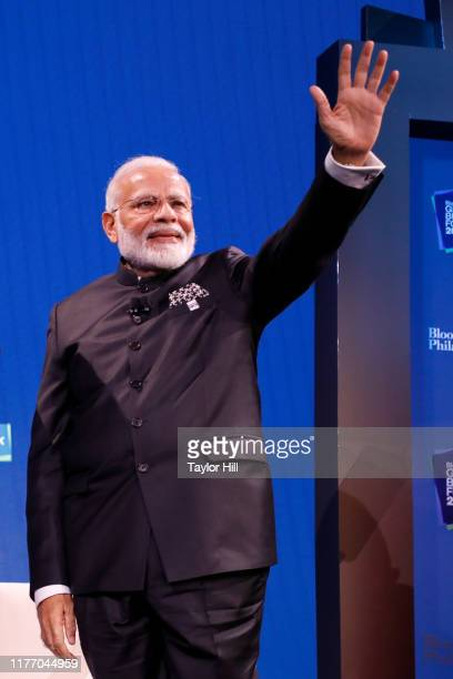 Prime Minister of India Narendra Modi waves during the 2019 Bloomberg Global Business Forum at The Plaza Hotel on September 25 2019 in New York City