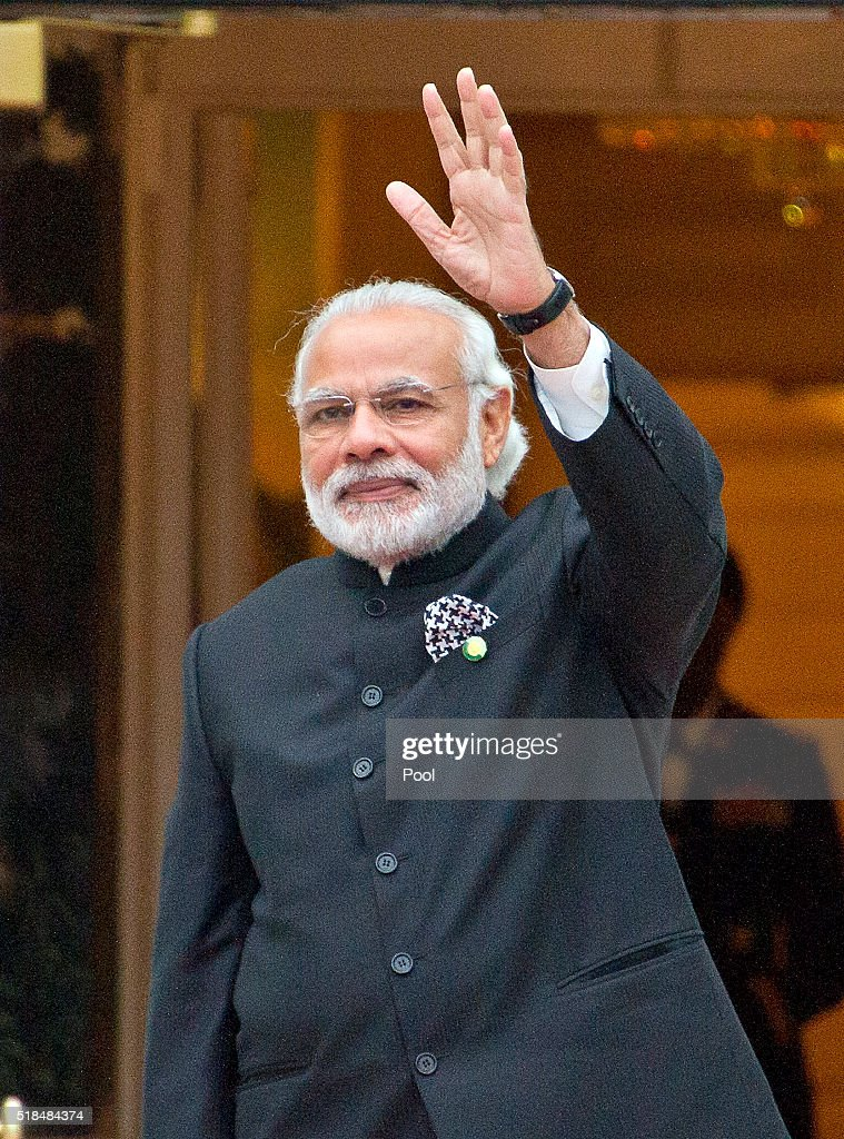 Prime Minister of India Narendrakumar Modi arrives for the working dinner for the heads of delegations at the Nuclear Security Summit on the South Lawn of the White House March 31, 2016 in Washington, D.C..