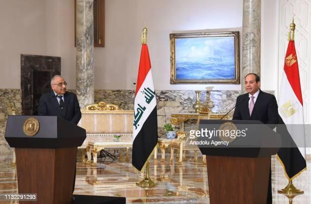 Prime Minister of Iraq Adil Abdul-Mahdi and Egyptian President Abdel Fattah al-Sisi hold a press conference after their meeting at Al Ittihadiyah...