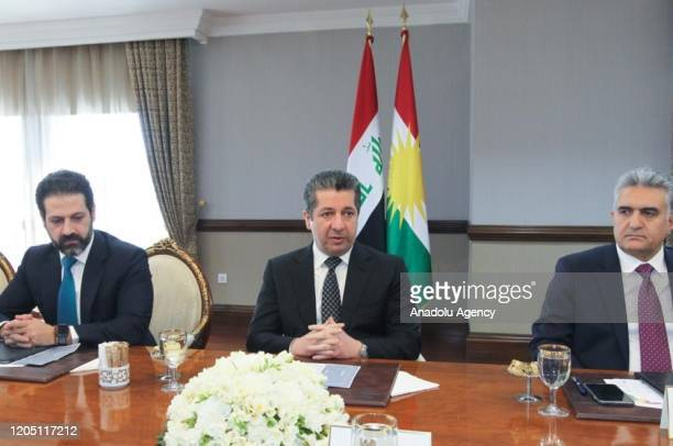 Prime Minister of Iraq Kurdish Regional Government Masrour Barzani holds a meeting to discuss the coronavirus outbreak in Erbil Iraq on March 4 2020