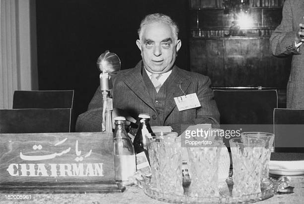Prime Minister of Iraq Nuri alSaid at the first session of a meeting of the Baghdad Pact in Tehran Iran 16th April 1956 The Baghdad Pact was a...