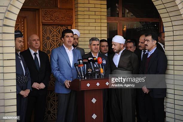 Prime Minister of Iraqi Kurdish Regional Government Nechervan Barzani , KRG spokesman Sefin Dizayi and Arbil Governor Nevzat Hadi attend a...