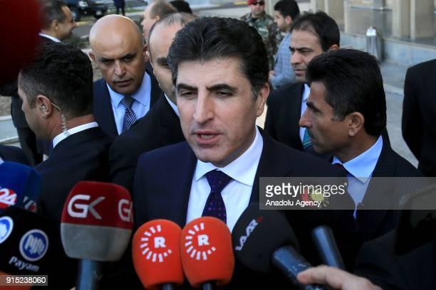Prime Minister of Iraqi Kurdish Regional Government Nechirvan Barzani speaks to media in front of the IKRG Parliament building in Erbil Iraq on...