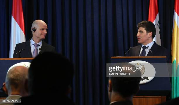 Prime Minister of Iraq's autonomous Kurdistan Regional Government Nechirvan Barzani and Dutch Foreign Minister Stef Blok attend a joint press...