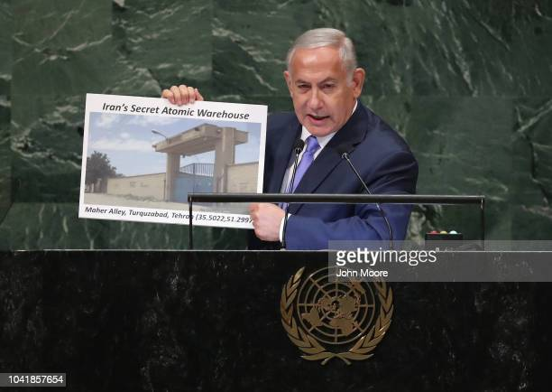 Prime Minister of Israel Benjamin Netanyahu addresses the United Nations General Assembly on September 27 2018 in New York City World leaders...