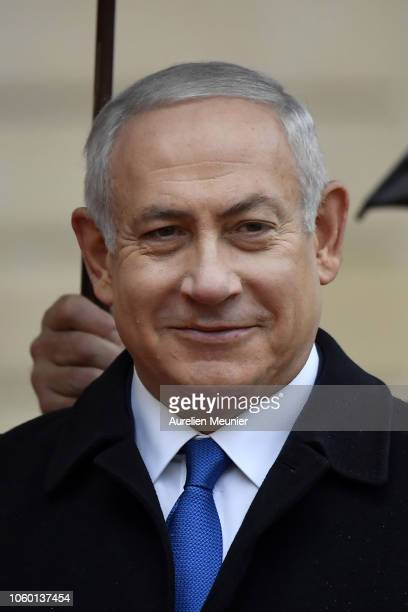 Prime Minister of Israel Benjamin Netanyahu arrives for the commemoration of the 100th anniversary of the end of WWI at Elysee Palace on November 11...