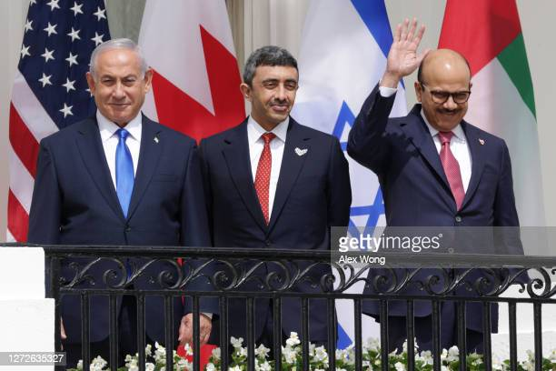 Prime Minister of Israel Benjamin Netanyahu Foreign Affairs Minister of the United Arab Emirates Abdullah bin Zayed bin Sultan Al Nahyan and Foreign...