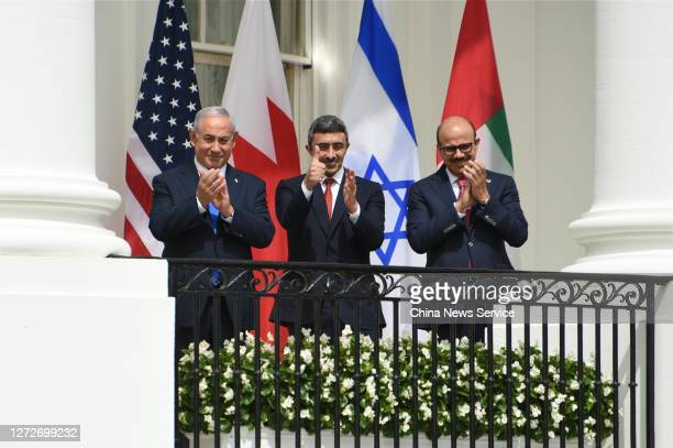 Prime Minister of Israel Benjamin Netanyahu, Foreign Affairs Minister of the United Arab Emirates Abdullah bin Zayed Al Nahyan, and Foreign Affairs...
