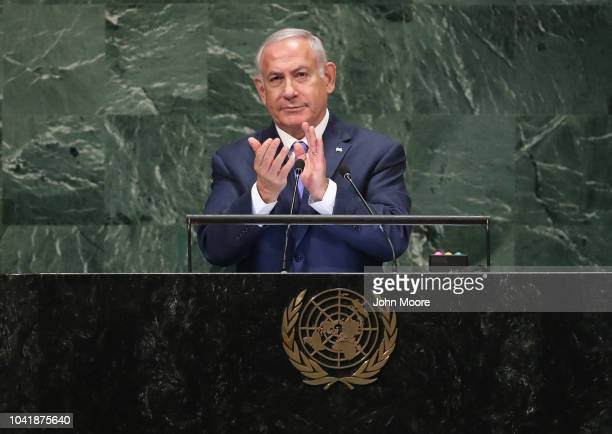 Prime Minister of Israel Benjamin Netanyahu gives thanks to US President Donald Trump while addressing the United Nations General Assembly on...