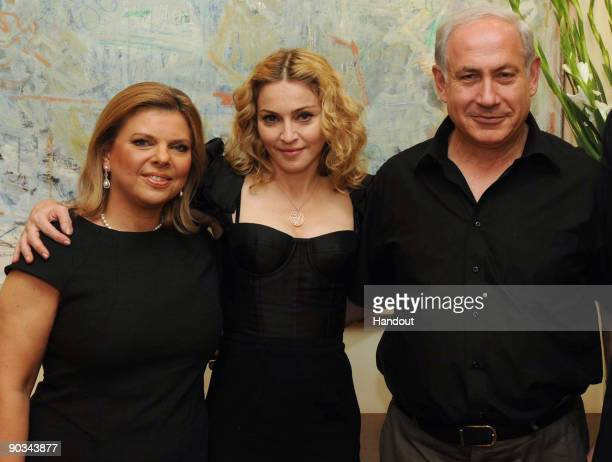 Prime Minister of Israel Benjamin Netanyahu , his wife Sara pose with Madonna at the Prime Minister's residence on September 4, 2009 in Jerusalem,...