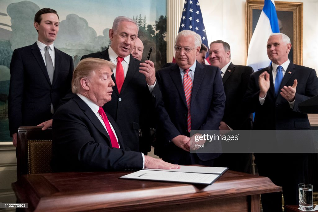 President Donald Trump Welcomes Israeli Prime Minister Benjamin Netanyahu To The White House : News Photo
