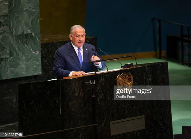 Prime Minister of Israel Benjamin Netanyahu speaks at 73rd UNGA session at United Nations Headquarters