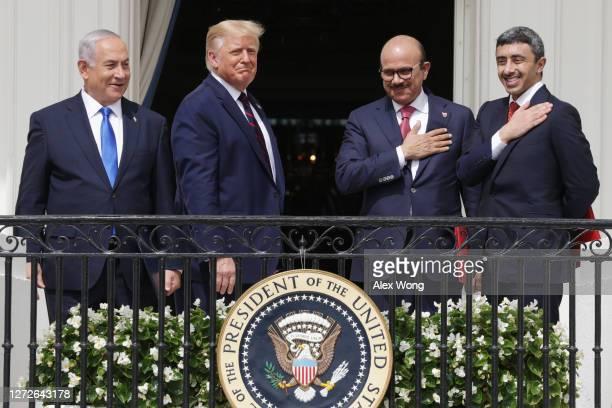 Prime Minister of Israel Benjamin Netanyahu US President Donald Trump Foreign Affairs Minister of Bahrain Abdullatif bin Rashid Al Zayani and Foreign...