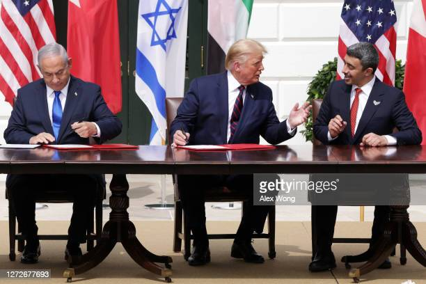 Prime Minister of Israel Benjamin Netanyahu, U.S. President Donald Trump, and Foreign Affairs Minister of the United Arab Emirates Abdullah bin Zayed...