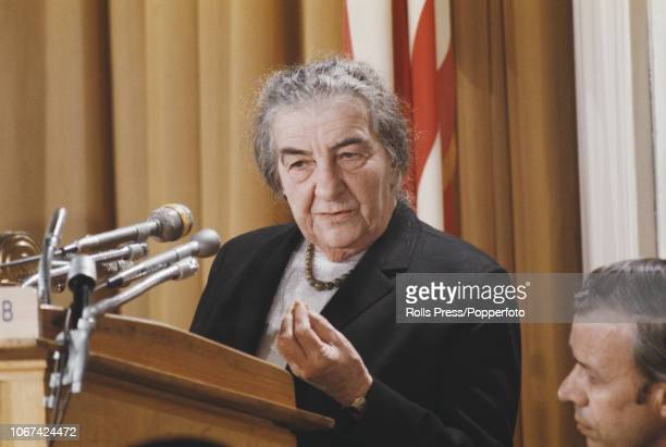 Prime Minister of Israel Golda Meir addresses the National Press Club in Washington DC during her visit to the United States on 1st March 1973