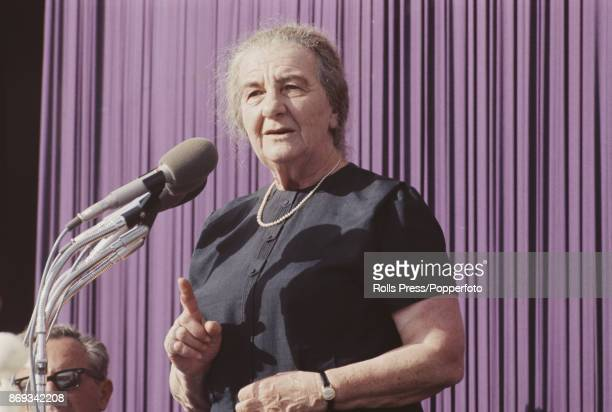 Prime Minister of Israel Golda Meir pictured addressing a Knesset meeting in Jerusalem Israel in April 1970