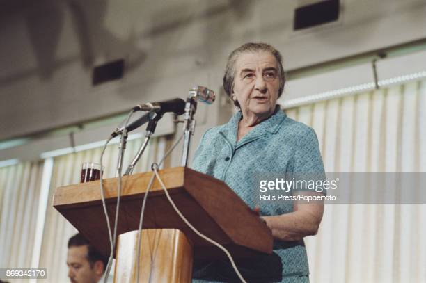 Prime Minister of Israel Golda Meir pictured addressing a Labour Party meeting in Tel Aviv Israel in 1970